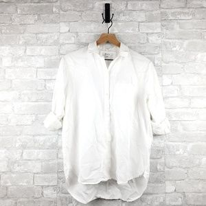 Madewell high low button down top | Size S